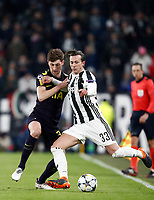 Football Soccer: UEFA Champions League Juventus vs Tottenahm Hotspurs FC Round of 16 1st leg, Allianz Stadium. Turin, Italy, February 13, 2018. <br /> Juventus' Federico Bernardeschi (r) in action with Tottenham's Ben Davies (l) during the Uefa Champions League football soccer match between Juventus and Tottenahm Hotspurs FC at Allianz Stadium in Turin, February 13, 2018.<br /> UPDATE IMAGES PRESS/Isabella Bonotto
