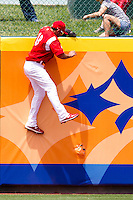 Alex Castellanos (18) of the Springfield Cardinals climbs the center field wall in hopes of stopping a home run during a game against the San Antonio Missions on May 30, 2011 at Hammons Field in Springfield, Missouri.  Photo By David Welker/Four Seam Images
