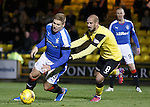 Hugo Faria puts his hands on Martyn Waghorn and the Rangers striker goes down looking for a penalty kick