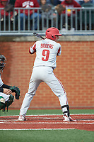 Jax Biggers (9) of the Arkansas Razorbacks at bat against the Charlotte 49ers at Hayes Stadium on March 21, 2018 in Charlotte, North Carolina.  The 49ers defeated the Razorbacks 6-3.  (Brian Westerholt/Four Seam Images)