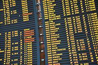 Arrival board at Paris Charles de Gaulle International Airport, France