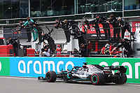 11th October 2020, Nuerburgring, Nuerburg, Germany; FIA Formula 1 Eifel Grand Prix, Race Day;  44 Lewis Hamilton GBR, Mercedes-AMG Petronas Formula One Team  celebrates his win which equals the wins by Michael Schumacher