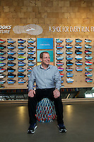 Brooks Running CEO Jim Weber at the company's headquarters in Seattle, Washington, which overlooks the popular Burke-Gilman running trail and Lake Union. Photo by Daniel Berman