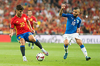 Spain's Fernando Alarcon 'Isco' and Italy's Lorenzo Insigne during match between Spain and Italy to clasification to World Cup 2018 at Santiago Bernabeu Stadium in Madrid, Spain September 02, 2017. (ALTERPHOTOS/Borja B.Hojas)