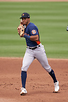 Houston Astros shortstop Jeremy Peña (89) throws to first base during a Major League Spring Training game against the Miami Marlins on March 21, 2021 at Roger Dean Stadium in Jupiter, Florida.  (Mike Janes/Four Seam Images)