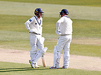 Kent's Matt Milnes (L) and Kent's Darren Stevens in discussion during Kent CCC vs Yorkshire CCC, LV Insurance County Championship Group 3 Cricket at The Spitfire Ground on 18th April 2021