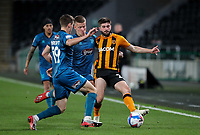 Hull City's Brandon Fleming battles with Grimsby Town's Luke Spokes and Max Wright<br /> <br /> Photographer Alex Dodd/CameraSport<br /> <br /> EFL Papa John's Trophy - Northern Section - Group H - Hull City v Grimsby Town - Tuesday 17th November 2020 - KCOM Stadium - Kingston upon Hull<br />  <br /> World Copyright © 2020 CameraSport. All rights reserved. 43 Linden Ave. Countesthorpe. Leicester. England. LE8 5PG - Tel: +44 (0) 116 277 4147 - admin@camerasport.com - www.camerasport.com