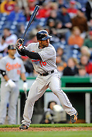 29 March 2008: Baltimore Orioles' outfielder Jay Payton at bat during an exhibition game against the Washington Nationals at Nationals Park, in Washington, DC. The matchup was the first professional baseball game played in the new Nationals Park, prior to the upcoming official opening day inaugural game. The Nationals defeated the Orioles 3-0...Mandatory Photo Credit: Ed Wolfstein Photo