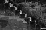 Fort Worden State Park  with graffiti on  concrete walls and concrete stairs outside..