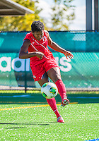29 September 2013: Stony Brook University Seawolves Defender Ahriel Fernandez, a Senior from East Haven, CT, in action against the University of Vermont Catamounts at Virtue Field in Burlington, Vermont. The Lady Seawolves defeated the Catamounts 2-1 in America East play. Mandatory Credit: Ed Wolfstein Photo *** RAW (NEF) Image File Available ***