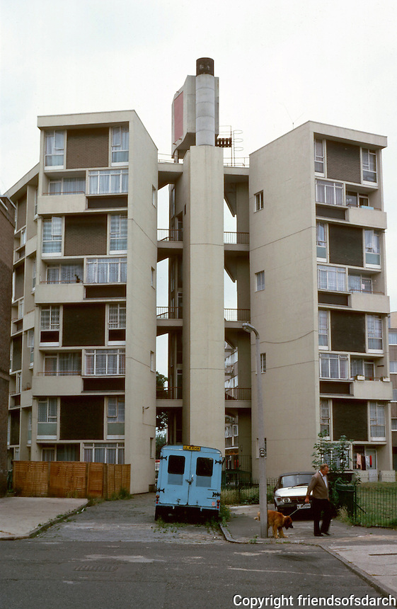 """London:  Housing 1952.  Usk St., Bethal Green. Sir Denys Lasdun.    A """"cluster block"""" with exposed elevators.  Photo '90."""