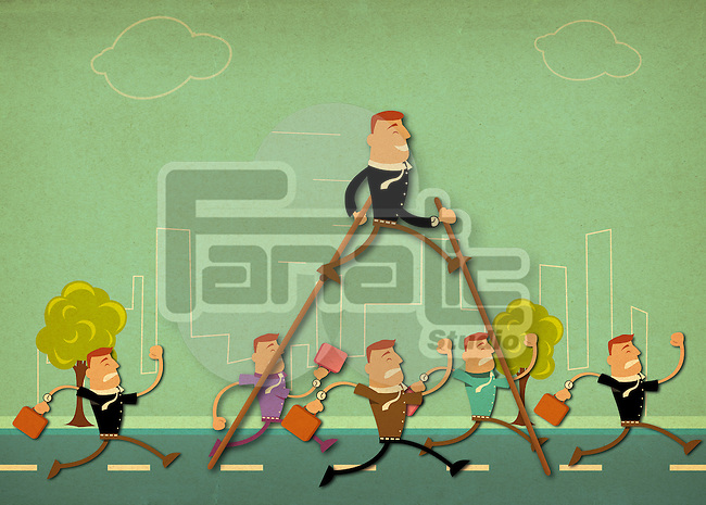 Business people running on the road