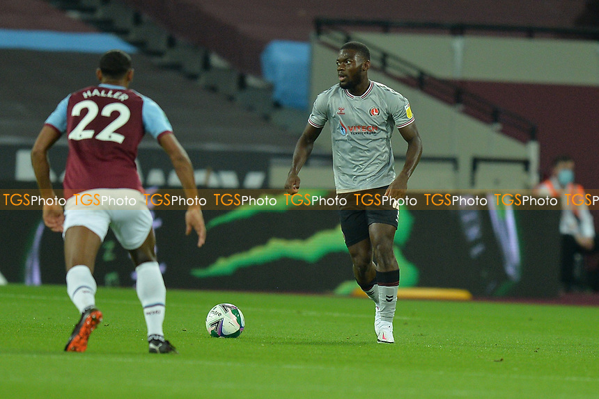 Adedeji Oshilaja of Charlton Athletic FC during West Ham United vs Charlton Athletic, Caraboa Cup Football at The London Stadium on 15th September 2020