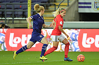Anderlecht's midfielder Charlotte Tison (L) and Benfica's forward Cloe Lacasse (R) pictured during a female soccer game between RSC Anderlecht Dames and Portugese Benfica Ladies  in the second qualifying round for the Uefa Womens Champions League of the 2020 - 2021 season , Wednesday 18 th of November 2020  in ANDERLECHT , Belgium . PHOTO SPORTPIX.BE | SPP | DIRK VUYLSTEKE