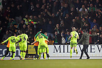 St Johnstone v Hibernian…27.02.19…  McDiarmid Park    SPFL<br />Marc McNulty and team amtes celebrate with the hibs fans<br />Picture by Graeme Hart. <br />Copyright Perthshire Picture Agency<br />Tel: 01738 623350  Mobile: 07990 594431