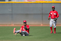 Cincinnati Reds shortstop Jose Israel Garcia (15) during a Minor League Spring Training game against the Los Angeles Angels at the Cincinnati Reds Training Complex on March 15, 2018 in Goodyear, Arizona. (Zachary Lucy/Four Seam Images)