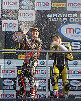 Winner Josh Brookes of Anvil Hire Tag Racing on the podium with second place Jason O'Halloran of Honda Racing (Left)  after the Final of the MCE British Superbikes in Association with Pirelli round 12 2017 - BRANDS HATCH (GP) at Brands Hatch, Longfield, England on 15 October 2017. Photo by Alan  Stanford / PRiME Media Images.
