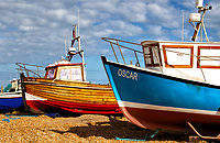 Hastings in East Sussex is one of the medieval Cinque Ports and a popularseaside resort. It has the largest beach-launched fishing fleet in Europe. A cliff side funicular railway and a large pier. Hastings, East Sussex, UK on August 31st 2020<br /> <br /> Photo by Keith Mayhew