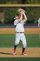 Richmond Spiders second baseman Zach Kurtz (3) catches a pop fly during the game against the Wake Forest Demon Deacons at David F. Couch Ballpark on March 6, 2016 in Winston-Salem, North Carolina.  The Demon Deacons defeated the Spiders 17-4.  (Brian Westerholt/Four Seam Images)