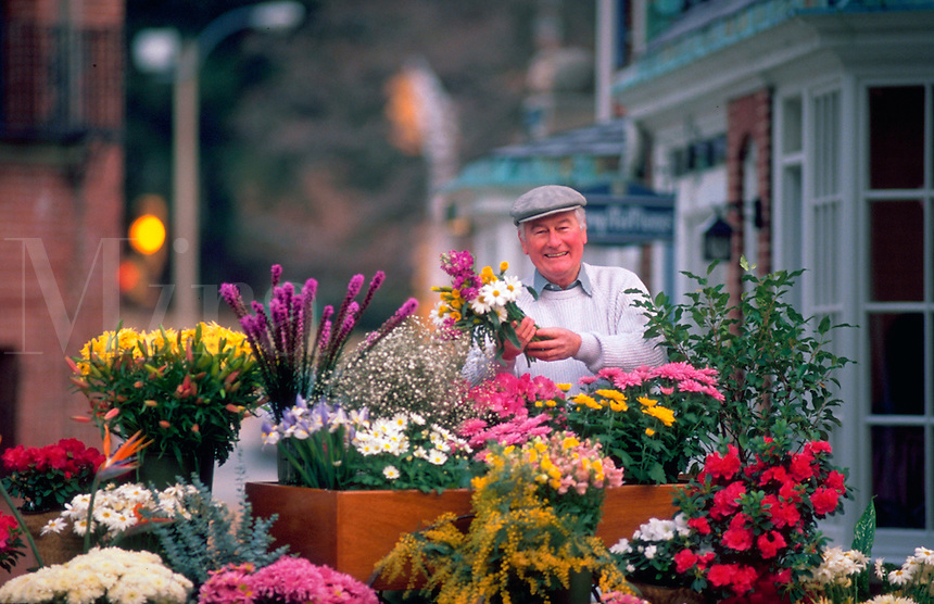 Senior man selling flowers at outdoor stall.