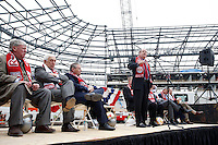 New Jersey Senate President Richard Cody addresses the media during the topping off ceremony at Red Bull Arena in Harrison, NJ, on April 14, 2009.