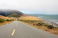 Mattole Road on California's Lost Coast makes its way down the side of a hill towards the beach. California's lost cost is located between Eureka and Mendocino, California, and includes the King Range National Conservation Area. Photographed 07/08
