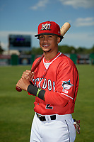 Batavia Muckdogs Gerardo Nunez (2) poses for a photo before a NY-Penn League game against the West Virginia Black Bears on June 26, 2019 at Dwyer Stadium in Batavia, New York.  Batavia defeated West Virginia 4-2.  (Mike Janes/Four Seam Images)