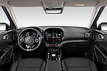 Stock photo of straight dashboard view of 2020 KIA e-Soul Premium 5 Door SUV Dashboard