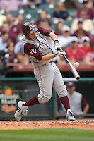 Brodie Greene #4 of the Texas A&M Aggies makes contact with the baseball versus the UC-Irvine Anteaters in the 2009 Houston College Classic at Minute Maid Park February 27, 2009 in Houston, TX.  The Aggies defeated the Anteaters 9-2. (Photo by Brian Westerholt / Four Seam Images)