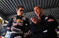 Feb 07, 2009; Daytona Beach, FL, USA; NASCAR Sprint Cup Series driver Scott Speed (left) with crew chief Jimmy Elledge during practice for the Daytona 500 at Daytona International Speedway. Mandatory Credit: Mark J. Rebilas-