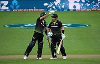 Australia's Glenn Maxwell congratulates Aaron Finch on his helf century during the third international men's T20 cricket match between the New Zealand Black Caps and Australia at Sky Stadium in Wellington, New Zealand on Wednesday, 3 March 2021. Photo: Dave Lintott / lintottphoto.co.nz