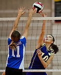 Smithsburg's Emily Seward hits the ball during the Sparrows Point High School versus Smithsburg High School match in the Semifinals of the Maryland State Volleyball 1A Championship at Ritchie Coliseum in College Park, Maryland on November 12, 2012. Smithsburg defeated Sparrows Point in straight sets 25-10, 25-12, 25-10 to advance to the State Finals.