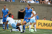 Boston Breakers defender Maggie Tomecka (#5) gets tangled up with Chicago Red Stars defender Ifeoma Dieke. The Boston Breakers defeated the Chicago Red Stars 1-0, at Harvard Stadium, in Cambridge, MA, Wednesday, July 15, 2009.