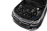 Car stock 2018 Mercedes Benz SLC Sportline 2 Door Convertible engine high angle detail view