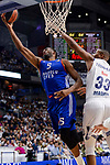 Real Madrid's Trey Thompkins and Anadolu Efes's Derrick Brown during Turkish Airlines Euroleague match between Real Madrid and Anadolu Efes at Wizink Center in Madrid, April 07, 2017. Spain.<br /> (ALTERPHOTOS/BorjaB.Hojas)