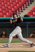 Tim Smalling #9 of the Modesto Nuts loses his bat while batting against the High Desert Mavericks at Stater Bros. Stadium on June 29, 2013 in Adelanto, California. Modesto defeated High Desert, 7-2. (Larry Goren/Four Seam Images)