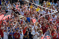 USA fans celebrate during a USA vs Brazil international friendly which Brazil won, 4-2, at Soldier Field, Chicago, IL on September 9, 2007.