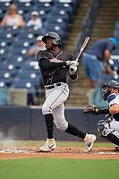 Jupiter Hammerheads Demetrius Sims (5) bats during a Florida State League game against the Tampa Tarpons on July 26, 2019 at George M. Steinbrenner Field in Tampa, Florida.  Tampa defeated Jupiter 2-0 in the first game of a doubleheader.  (Mike Janes/Four Seam Images)