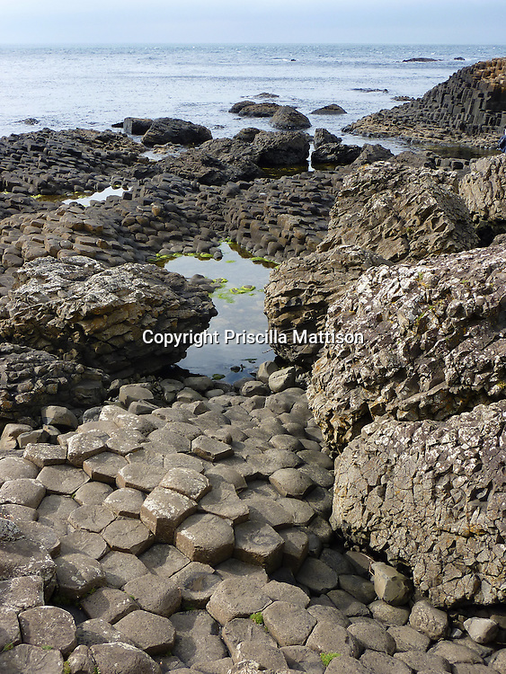 """County Antrim, Northern Ireland -  July 14, 2010:  Basalt """"stepping stones"""" lead to the water at the Giant's Causeway."""