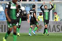 Domenico Berardi of US Sassuolo celebrates after scoring the goal of 1-1 for his side<br /> Reggio Emilia 20/10/2019 Stadio Citta del Tricolore <br /> Football Serie A 2019/2020 <br /> US Sassuolo - FC Internazionale <br /> Photo Andrea Staccioli / Insidefoto