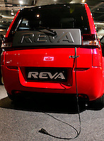 """A Reva electrical car with its charging cord. Renewable sources will be helping to meet the world's demand for energy in the future. This development opens new markets and opportunities for business. Hoping to make """"green business"""" and """"green profit"""" over 60 exhibitors took part in the The North European Renewable Energy Convention (Nerec) , in Norway, presenting their solutions for renewable energy in the future. .© Fredrik Naumann/Felix Features"""