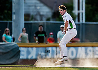 20 June 2021: Vermont Lake Monsters infielder Jakob Bullard, from Hampton, NH, slides safely into third after hitting a triple in the 8th inning against the Westfield Starfires at Centennial Field in Burlington, Vermont. Bullard subsequently scored on Sky Rahill's home run as the Lake Monsters were unable to rally, falling to the Starfires 10-2 at Centennial Field, in Burlington, Vermont. Mandatory Credit: Ed Wolfstein Photo *** RAW (NEF) Image File Available ***