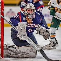 9 February 2018: University of Connecticut Huskie Goaltender Annie Belanger, a Senior from Sherbrooke, Quebec, in second period action against the University of Vermont Catamounts at Gutterson Fieldhouse in Burlington, Vermont. The Lady Cats defeated the Huskies 1-0 the first game of their weekend Hockey East series. Mandatory Credit: Ed Wolfstein Photo *** RAW (NEF) Image File Available ***
