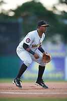 West Virginia Black Bears third baseman Raul Siri (55) during a game against the Batavia Muckdogs on June 24, 2017 at Dwyer Stadium in Batavia, New York.  The game was suspended in the bottom of the third inning and completed on June 25th with West Virginia defeating Batavia 6-4.  (Mike Janes/Four Seam Images)