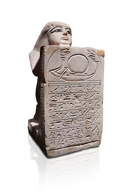 Ancient Egyptian stelophorus statue of Ubenre, New Kingdom, 19th-20th Dynasty, (1292-1076 BC), Deir el-Medina, Egyptian Museum, Turin. Cat 3040. white background.<br /> <br /> This type of stele is so called stelophorous statue. It consists of kneeling figure holding or offering stele. They were produced from the 18th dynasty onwards. Such stelae were usually inscribed with hymns to the sun-god.