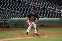 AZL Indians 2 center fielder Jonathan Engelmann (11) takes a lead off third base during an Arizona League game against the AZL Dodgers at Goodyear Ballpark on July 12, 2018 in Goodyear, Arizona. The AZL Indians 2 defeated the AZL Dodgers 2-1. (Zachary Lucy/Four Seam Images)