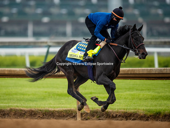April 25, 2021: Medina Spirit with Humberto Gomez gallops  in preparation for the Ketnucky Derby at Churchill Dows in Louisville, Kentucky on April 25, 2021. EversEclipse Sportswire/CSM