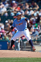 Lehigh Valley Iron Pigs relief pitcher Alexis Rivero (22) in action against the Durham Bulls at Coca-Cola Park on July 30, 2017 in Allentown, Pennsylvania.  The Bulls defeated the IronPigs 8-2.  (Brian Westerholt/Four Seam Images)