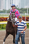 Here to Win with jockey Joe Bravo after winning The Very One Stakes(G3T) at Gulfstream Park. Hallandale Beach, Florida. 02-25-2012