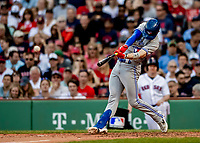 Jun 22, 2019; Boston, MA, USA; Toronto Blue Jays second baseman Cavan Biggio hits a single in the 7th inning against the Boston Red Sox at Fenway Park. Mandatory Credit: Ed Wolfstein-USA TODAY Sports